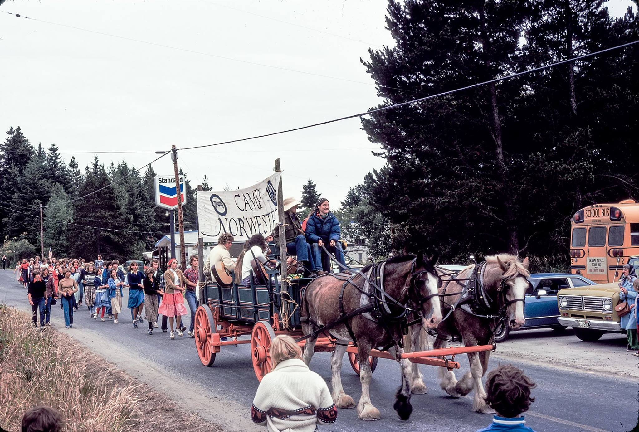 Ellen and Clydesdales at Lopez Island Parade